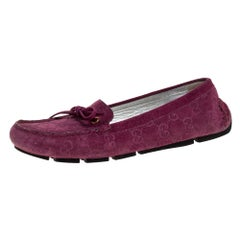 Gucci Purple GG Suede Leather Bow Slip On Loafers Size 36.5