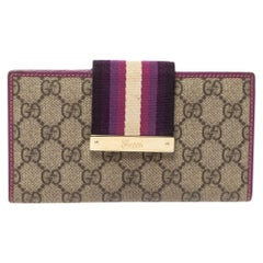 Gucci Purple GG Supreme Canvas and Leather Web Limited Edition Flap Wallet