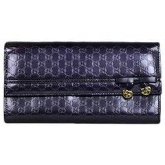 Gucci Purple Glazed Leather Micro Guccisima Monogram Candy Shine Wallet