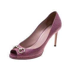 Gucci Purple Guccissima Leather New Hollywood Horsebit Peep Toe Pumps Size 39.5