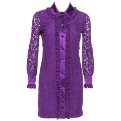 Gucci Purple Lace Cotton Satin Trim Detail Shirt Dress XS