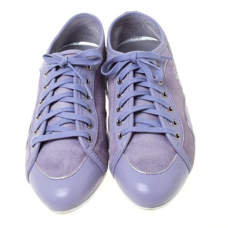Gray Gucci Purple Leather And Suede Lace Up Low Top Sneakers Size 38.5