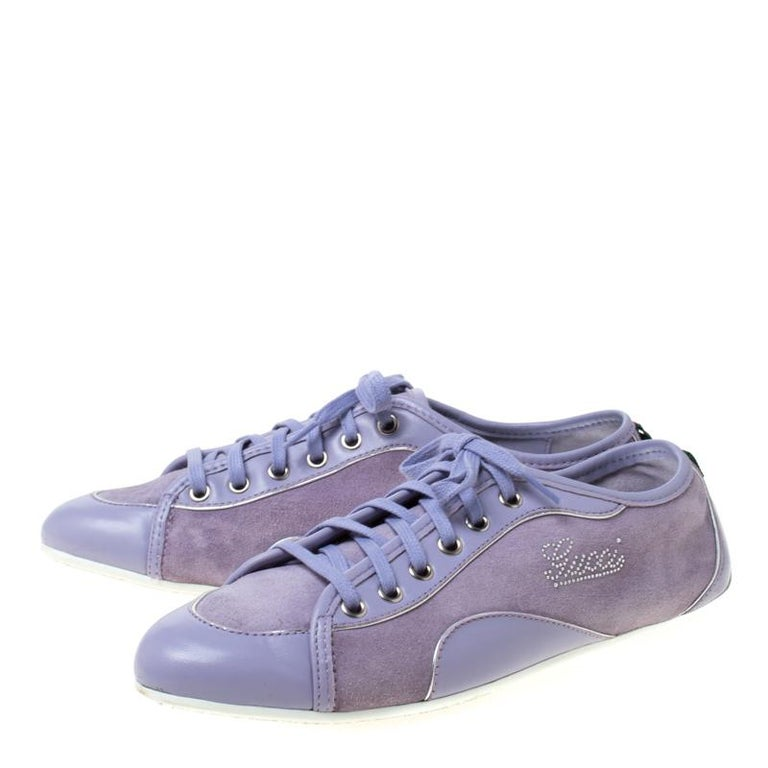 Women's Gucci Purple Leather And Suede Lace Up Low Top Sneakers Size 38.5