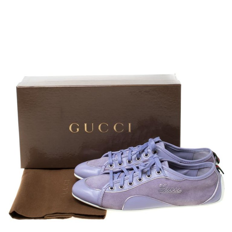 Gucci Purple Leather And Suede Lace Up Low Top Sneakers Size 38.5 3