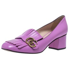 Gucci Purple Leather GG Marmont Fringe Block Heel Pumps Size 40