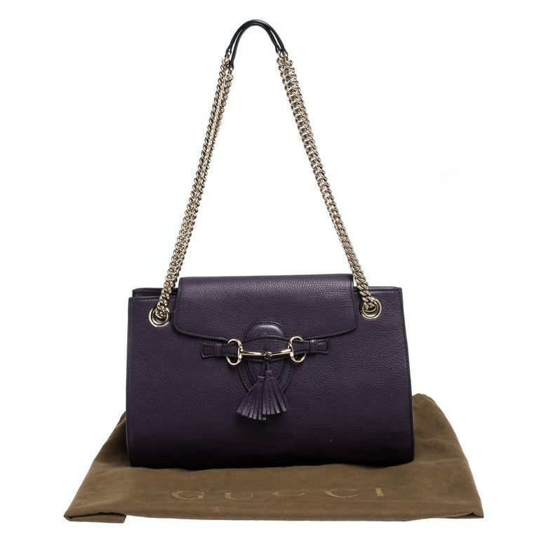 Gucci Purple Leather Large Emily Chain Shoulder Bag For Sale 9