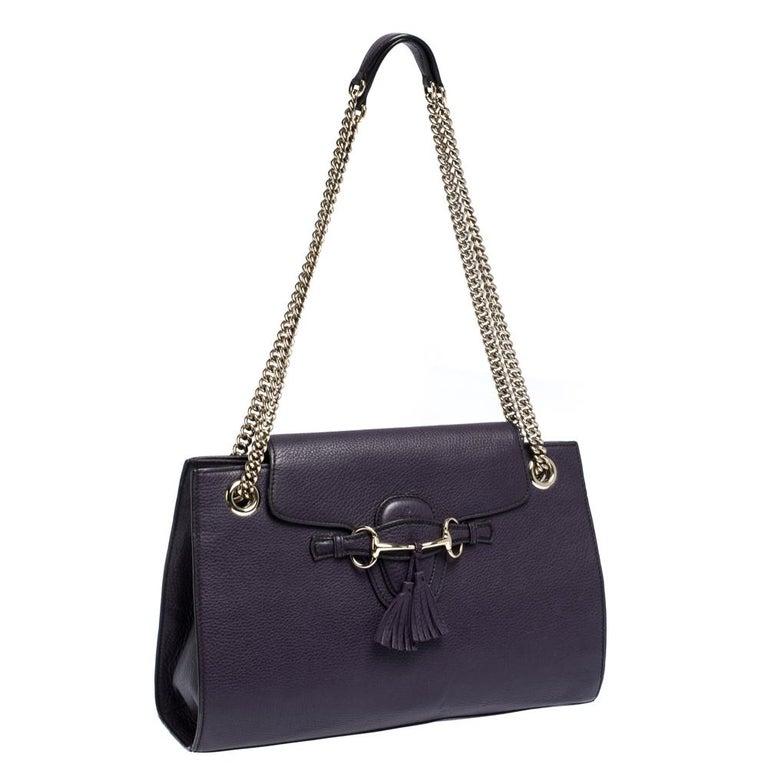Women's Gucci Purple Leather Large Emily Chain Shoulder Bag For Sale