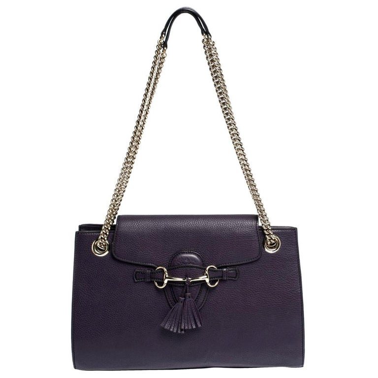 Gucci Purple Leather Large Emily Chain Shoulder Bag For Sale