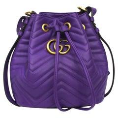 Gucci Purple Leather Marmont Shoulder Bag
