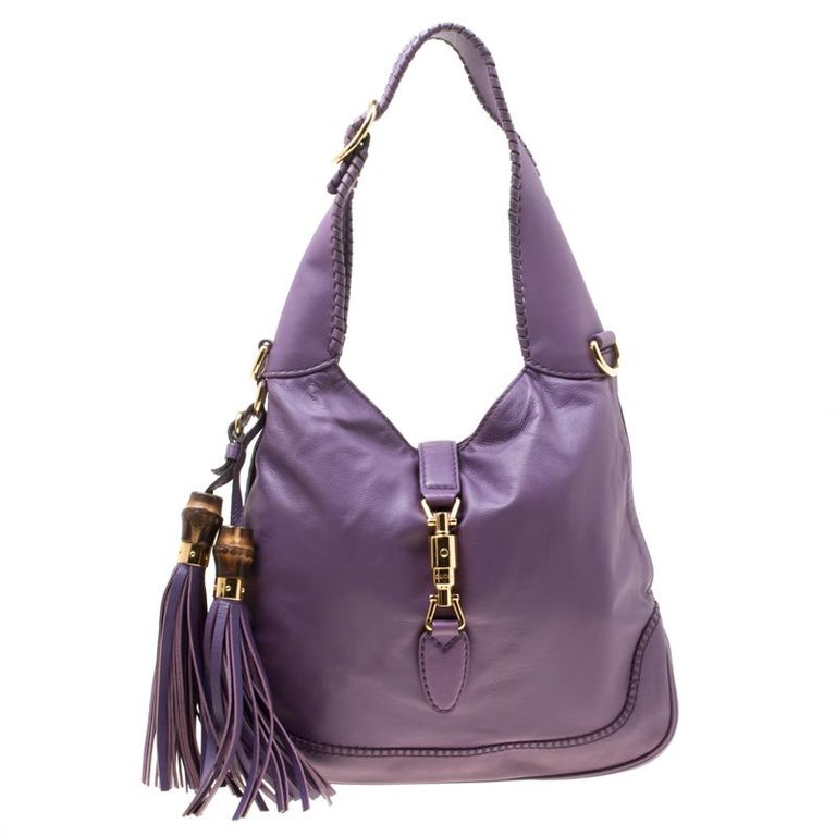 2d5e88bc1c9 Gucci Purple Leather Medium New Jackie Shoulder Bag