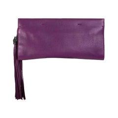 GUCCI purple leather NOUVEAU BAMBOO TASSEL Clutch Bag