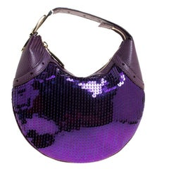 Gucci Purple Lizard Skin and Sequin Hobo