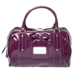Gucci Purple Patent Leather Boston Bag