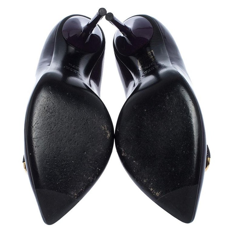 Gucci Purple Patent Leather Horsebit Pointed Toe Pumps Size 37.5 For Sale 1
