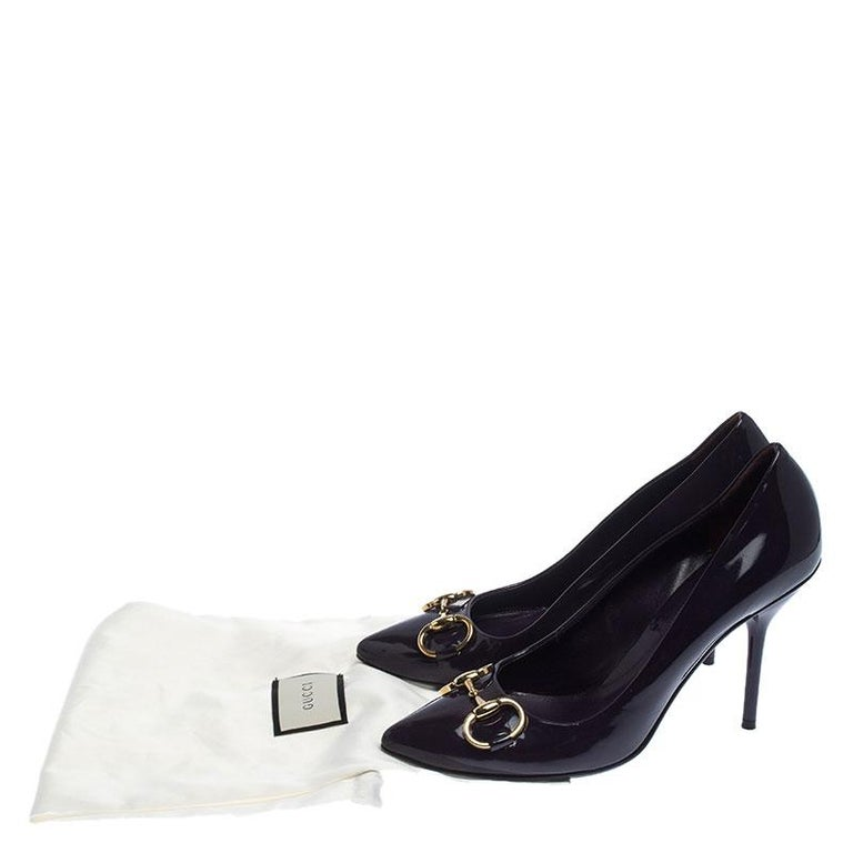 Gucci Purple Patent Leather Horsebit Pointed Toe Pumps Size 37.5 For Sale 3