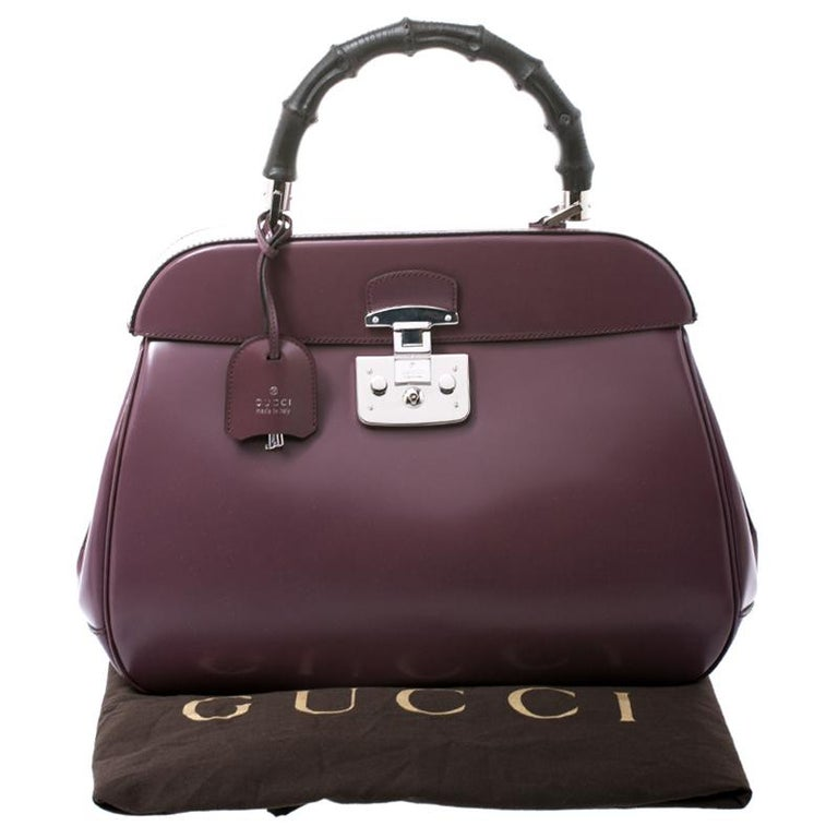 Gucci Purple Patent Leather Lady Lock Bamboo Large Top Handle Bag For Sale 8