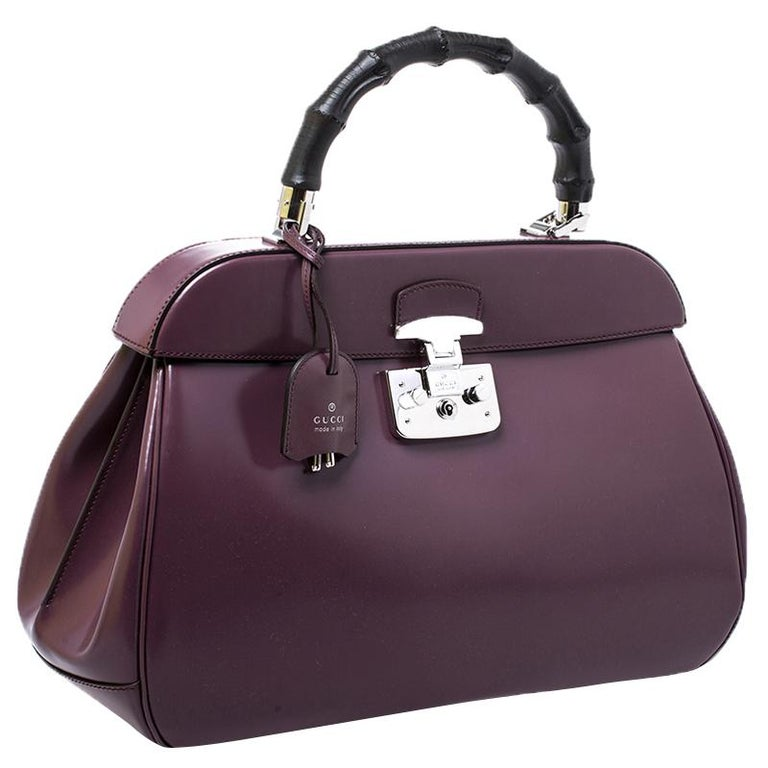 Gucci Purple Patent Leather Lady Lock Bamboo Large Top Handle Bag In Good Condition For Sale In Dubai, Al Qouz 2