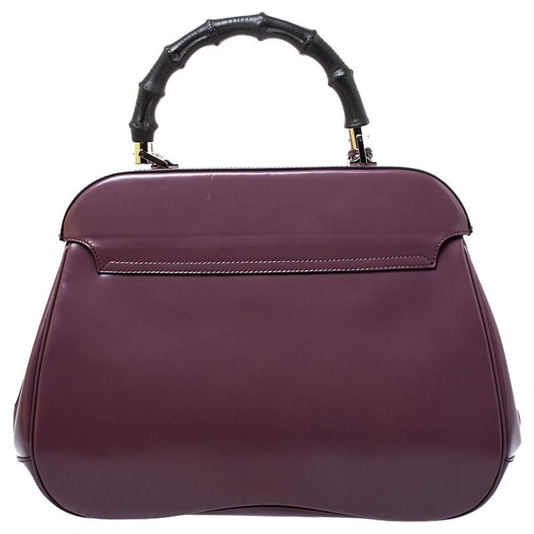 Women's Gucci Purple Patent Leather Lady Lock Bamboo Large Top Handle Bag For Sale