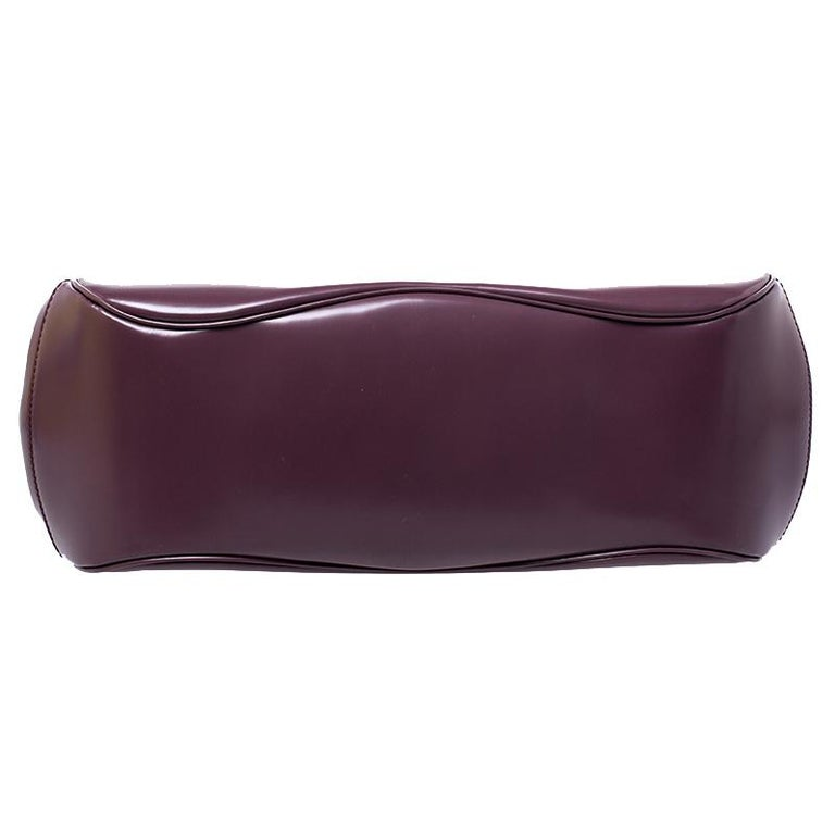 Gucci Purple Patent Leather Lady Lock Bamboo Large Top Handle Bag For Sale 1