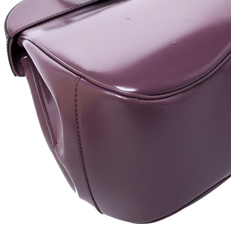 Gucci Purple Patent Leather Lady Lock Bamboo Large Top Handle Bag For Sale 2