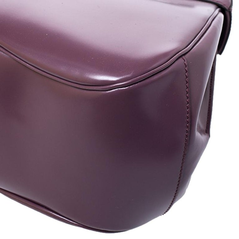 Gucci Purple Patent Leather Lady Lock Bamboo Large Top Handle Bag For Sale 3
