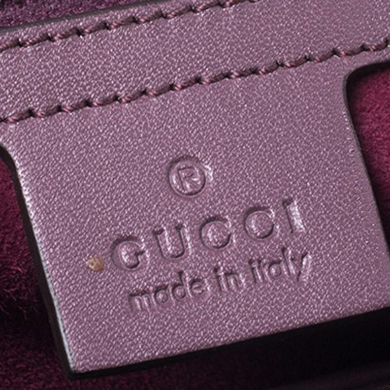 Gucci Purple Patent Leather Lady Lock Bamboo Large Top Handle Bag For Sale 4