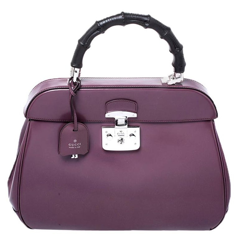 Gucci Purple Patent Leather Lady Lock Bamboo Large Top Handle Bag For Sale