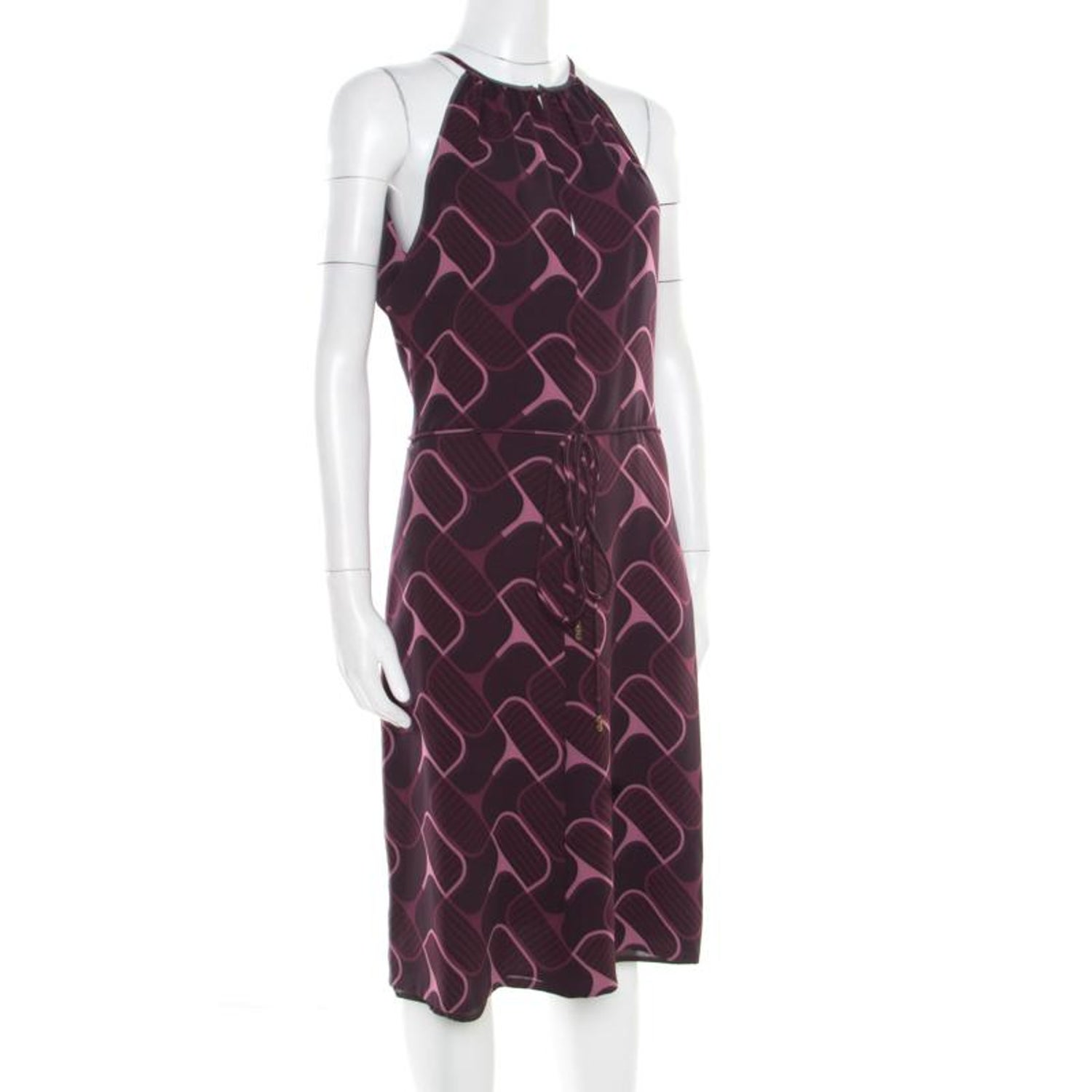 9beb4a888 Gucci Purple Printed Silk Crepe Belted Sleeveless Dress S For Sale at  1stdibs