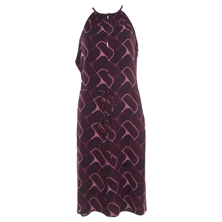 fe2d04d12 Gucci Purple Printed Silk Crepe Belted Sleeveless Dress S For Sale at  1stdibs