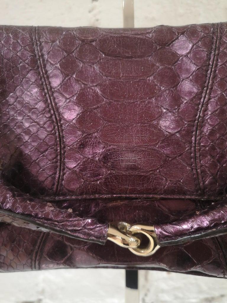Gucci purple python horsebit bamboo shoulder bag In Excellent Condition For Sale In Capri, IT