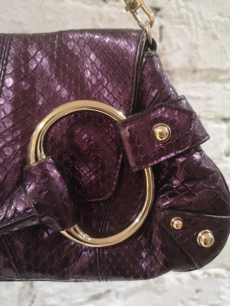 Women's Gucci purple python horsebit bamboo shoulder bag For Sale