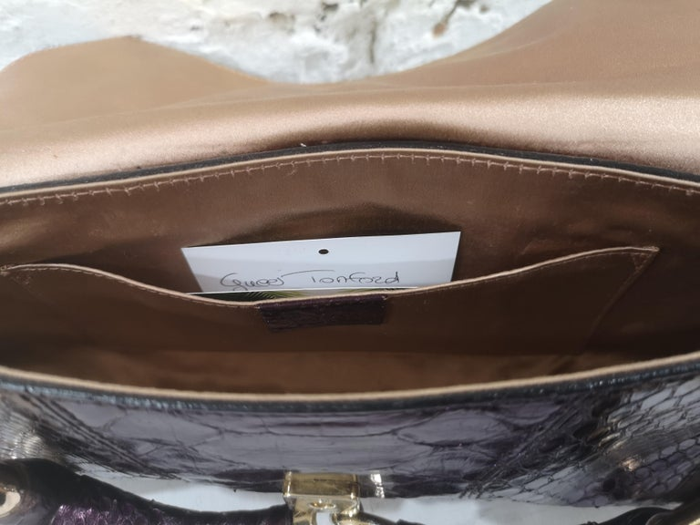 Gucci purple python horsebit bamboo shoulder bag For Sale 1