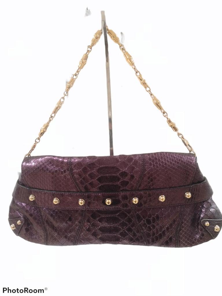 Gucci purple python horsebit bamboo shoulder bag For Sale 2
