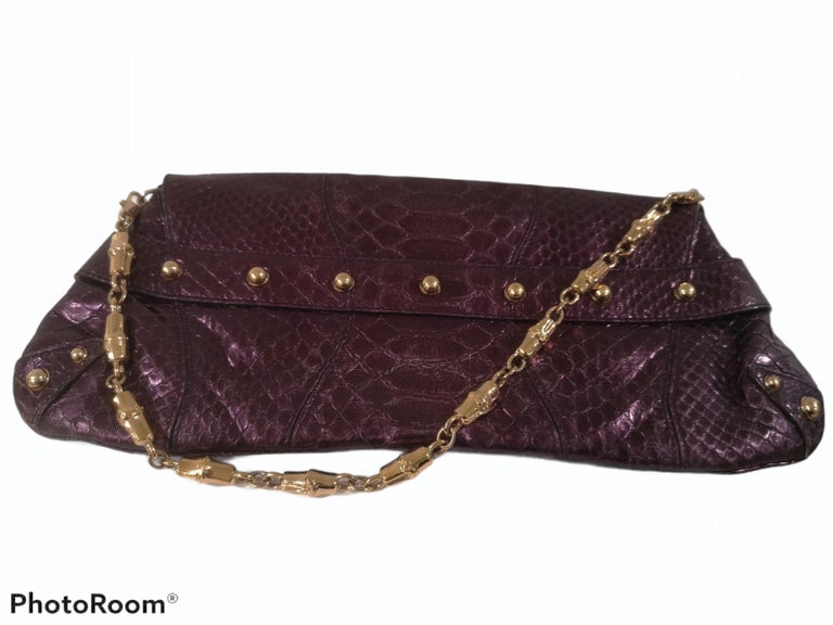 Gucci purple python horsebit bamboo shoulder bag For Sale 3