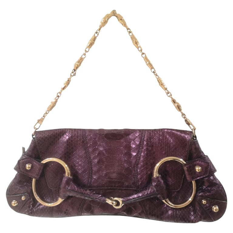 Gucci purple python horsebit bamboo shoulder bag For Sale
