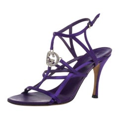 Gucci Purple Satin GG Cage Ankle Strap Sandals Size 37