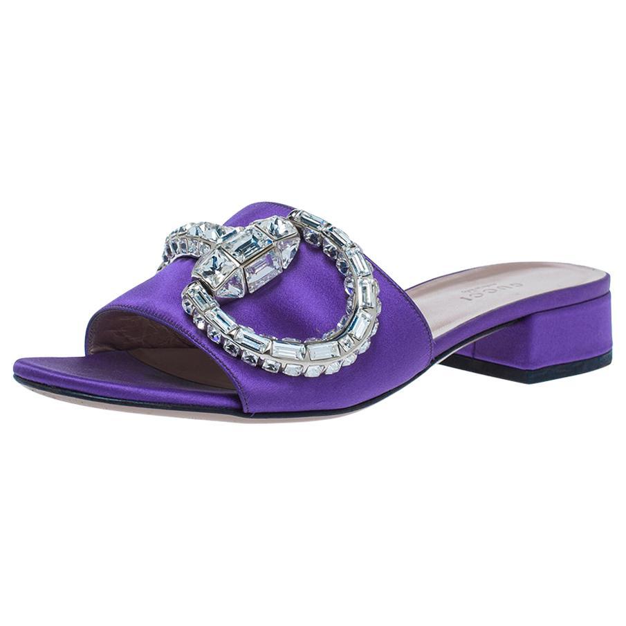Gucci Purple Satin Maxime Crystal Icon Bit Open Toe Slides Sandals Size 36.5