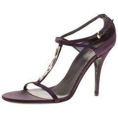 Gucci Purple Satin T-strap Sandals Size 40.5