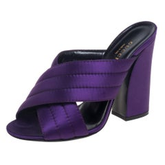 Gucci Purple Satin Webby Quilted Block CrissCross Sandals Size 37.5