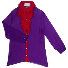 Gucci Purple Silk Chiffon Contrast Plisse Ruffle Detail Sheer Blouse M
