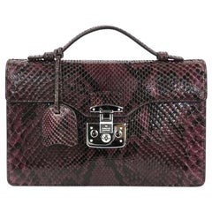 Gucci Purple Snakeskin Exotic Silver Evening Top Handle Satchel Kelly Style Bag