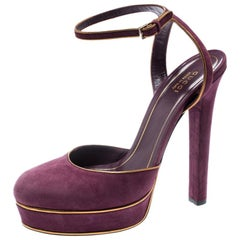 Gucci Purple Suede Huston Ankle Strap Platform Sandals Size 39