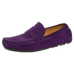 Gucci Purple Suede Slip On Loafers Size 44.5