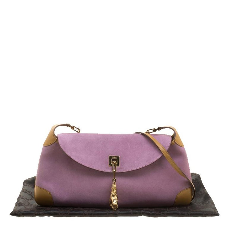 40357e189 Gucci Purple/Tan Suede and Leather Tiger Charm Shoulder Bag For Sale 5