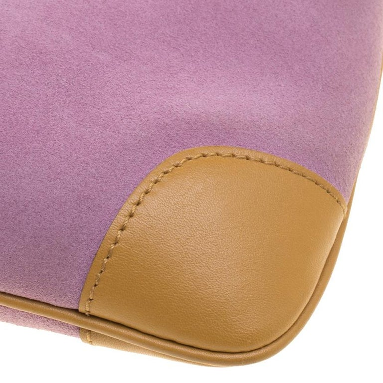 070cf8a99 Gucci Purple/Tan Suede and Leather Tiger Charm Shoulder Bag For Sale 7