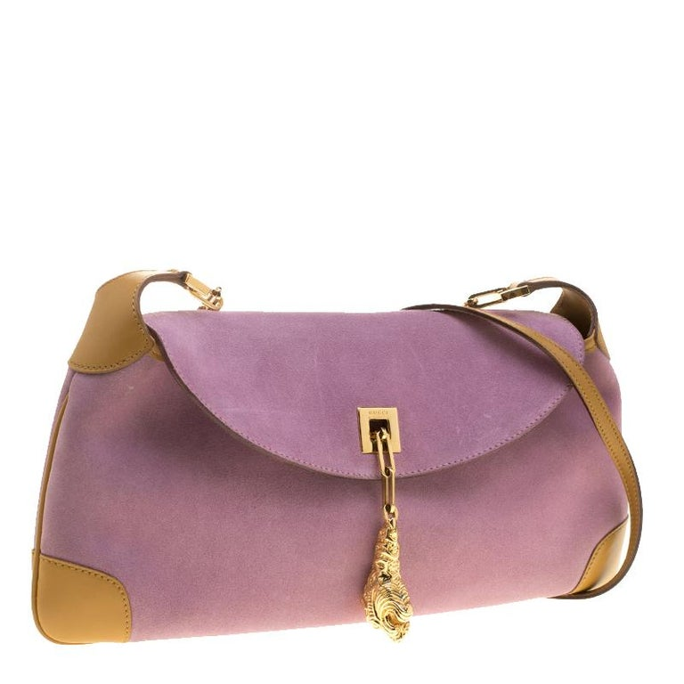 195152540 Gucci Purple/Tan Suede and Leather Tiger Charm Shoulder Bag In Good  Condition For Sale