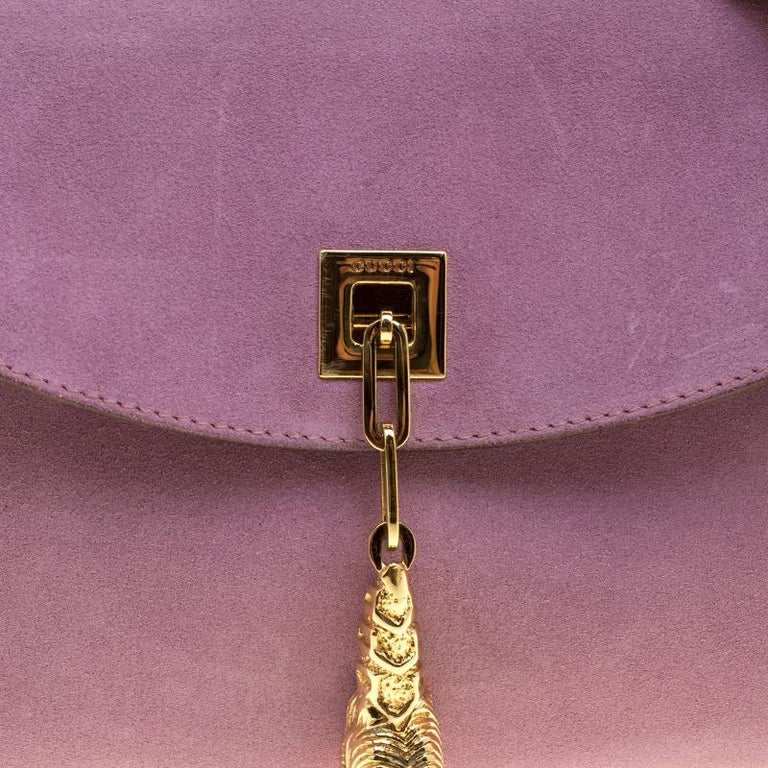 85b00addb Women's Gucci Purple/Tan Suede and Leather Tiger Charm Shoulder Bag For Sale