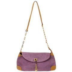 Gucci Purple/Tan Suede and Leather Tiger Charm Shoulder Bag