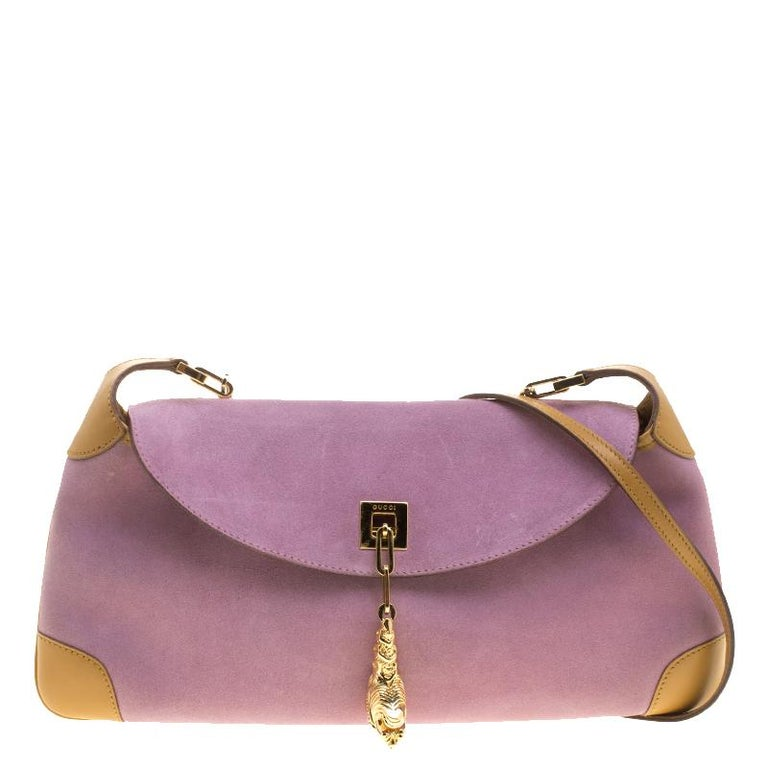 ff3ddd5b8 Gucci Purple/Tan Suede and Leather Tiger Charm Shoulder Bag at 1stdibs