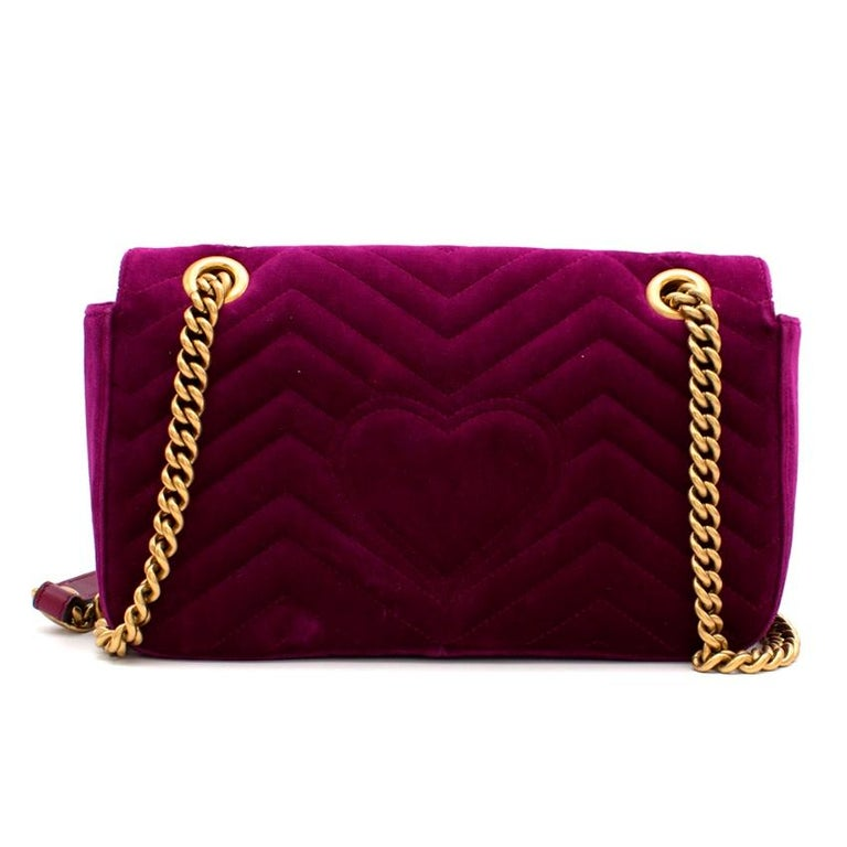 Gucci Purple Velvet Marmont Quilted Shoulder Bag 26cm In Excellent Condition For Sale In London, GB
